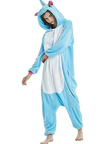 Amenxi Tier Onesie Pyjama Cosplay Kostüme Schlafanzug Erwachsene Unisex Animal Tieroutfit tierkostüme Jumpsuit Nachtwäsche (Blau, Körpergröße 155-165cm (M))