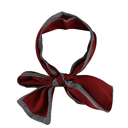 L_shop Short Neck Scarf Dot Bedruckte Kleidung Dekoration Krawattenschal Multi Use Knoted Bow Halstuch, rot