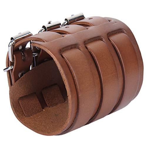 EVER FAITH 3 Layer Wide Belt Genuine Leather Men Women Daily Wristband Brown Bracelet Unisex Couple
