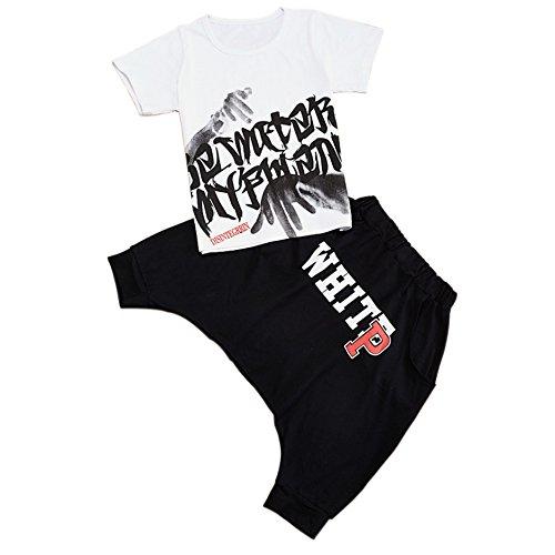 Moyuqi Sommer Hip Hop Kinder Bekleidungsset Baby Jungen kurze Hose Set Kinderkleidung, weiß, 140