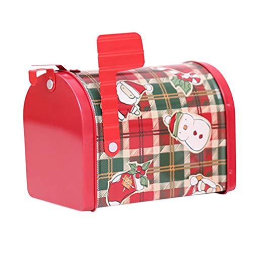 Amosfun Tema de Navidad Caja de Regalo Forma de buzón Forma de Correo de hojalata Creativa para Dulces Juguetes Decoración Amigos (patrón a Cuadros)