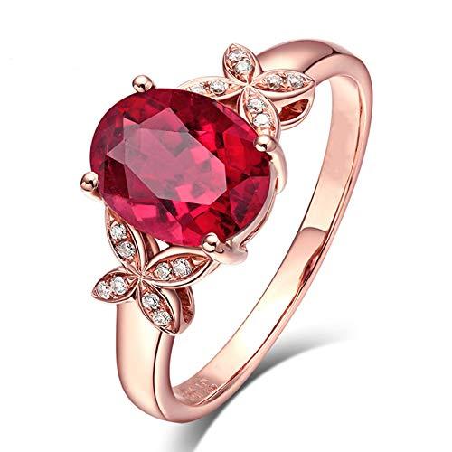 Kihomedy - Anillos de boda para mujer, diseño de mariposa de circón y rubí