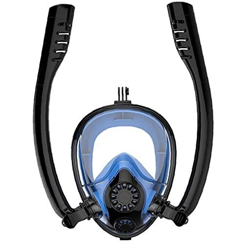 Dual-Schlauch Schnorchel Atem Schnorchel Maske Full Face Anti-Fog Anti-Leak Taucherbrillen Dem Berg Doppel Air-Flow Silica