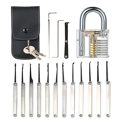 Hylotele 15pcs Lock Picking Set Kit Tool mit transparenten Praxis Training Vorhängeschloss Schloss für Schlosser Anfänger und Profis