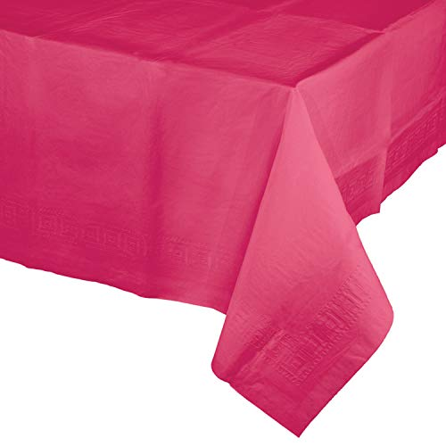 Creative Converting Touch of Color Plastic Lined Table Cover, 54 by 108-Inch, Hot Magenta