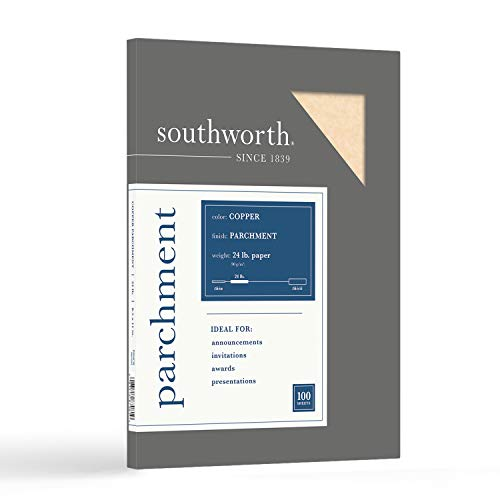 """Southworth Parchment Paper, 8.5"""" x 11"""", 24 lb/90 GSM, Copper, 100 Sheets - Packaging May Vary (P894CK)"""