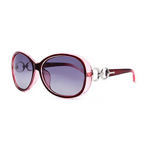 VeBrellen Luxus Transparente Damen-Sonnenbrille, polarisiert, Retro-Brille, quadratischer Rahmen, Rot