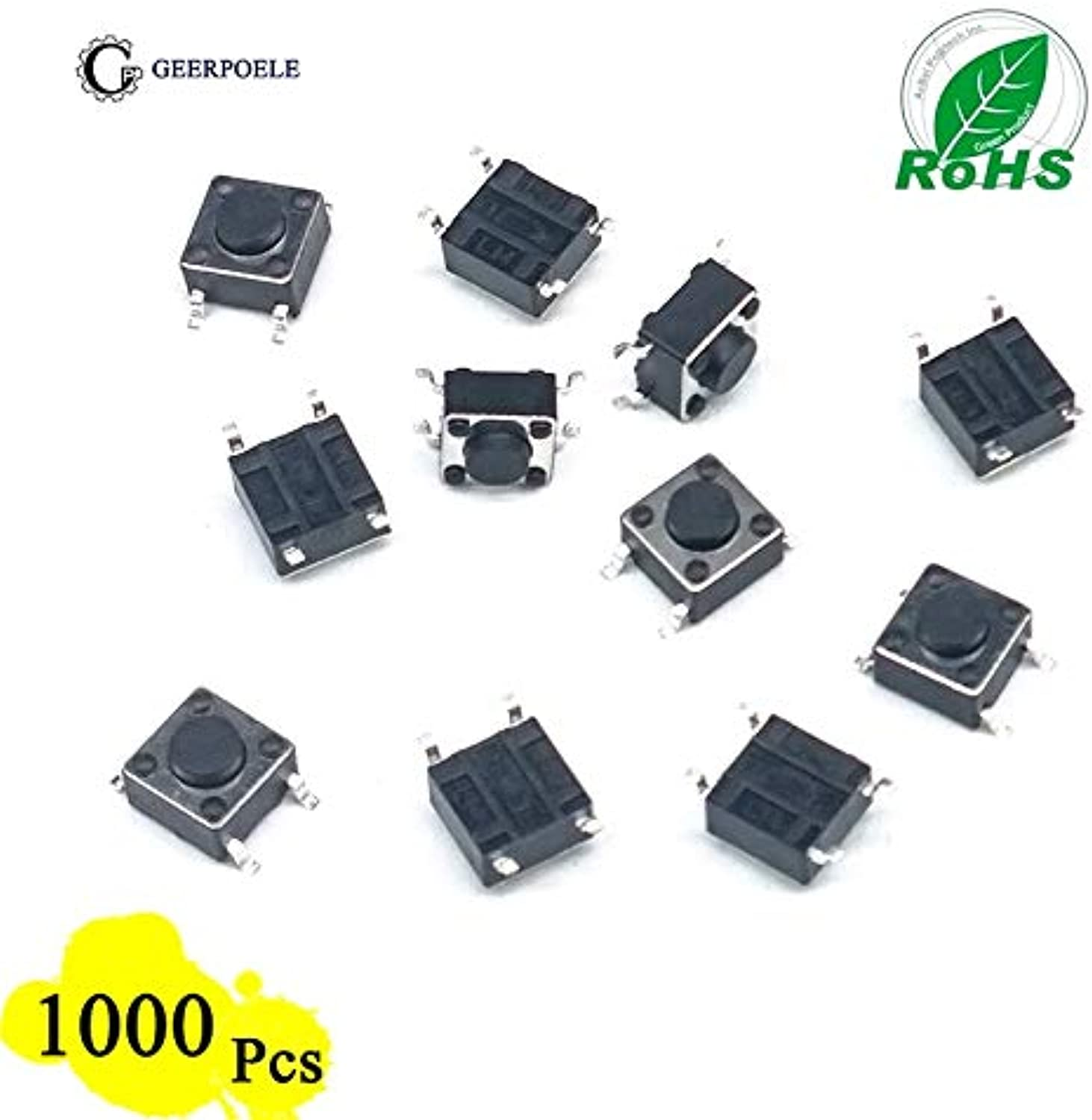 EP High Quality 1000 Pieces lot 6  6  4.5mm 4 PIN Tactile Tact Push Button Micro Switch Direct Plugin SelfReset Top Copper SMT