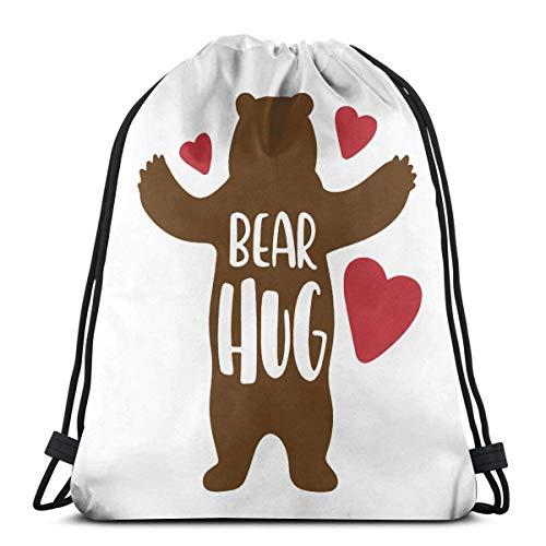 Mochila con Cordón,Bolsas De Cuerdas Gimnasio,Bear Hug Mens Womens Athletic Premium Quality Pull String Bag para Viajar Yoga Shopping School Workout Beach