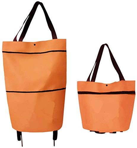 Extra Großer Kapazität Einkaufstrolley Klappbarer Einkaufswagen Shopping Bag mit Robuste Rädern,Handtasche mit Handgriff Einkaufstasche 600D Oxford Material (Orange, 46X41X13.5cm)