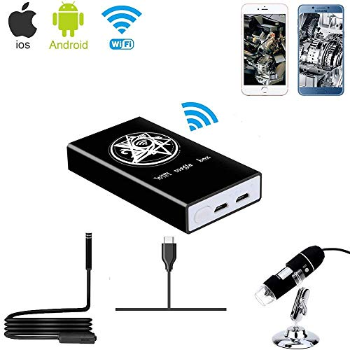Jiusion Wireless WiFi Box Kompatibel mit iPhone iPad Android Telefon Tablet, Typ C/USB zu WiFi Konverter für USB Digital Mikroskop Endoskop Endoskop Mini Vergrößerungs Kamera