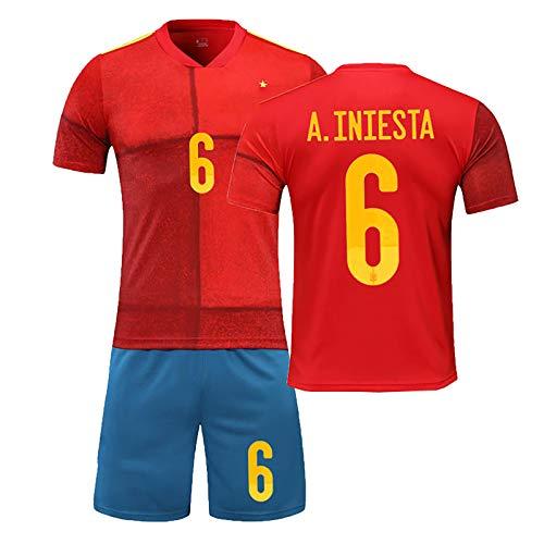 Conjuntos de fútbol Jersey para niños Adultos, Ramos ISCO, 2020 Home and Away Jersey, Equipo Nacional del Equipo de España Ramos Soccer Jersey Juego, Uniforme de equ #6-S