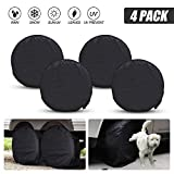 NEVERLAND Set of 4 Tyre Covers, Heavy Duty Waterproof Oxford Cloth Fabric Tire Sun Protectors Fits 27'-30' Tire diameters Rv Trailer Camper Car Truck Black