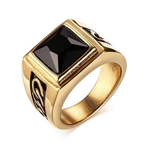 OIDEA Anello Uomo Fidanzamento Promessa Matrimonio Nuziale Acciaio Inossidabile Agata Nero Oro
