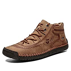 HIGH QUALITY : The upper is made of premium leather with clear texture and used soft and double handmade sewing so that the hand stitching zipper shoes can be durable and firm.Retro British and distinctive design,Anti-collision Round Toe of this low ...