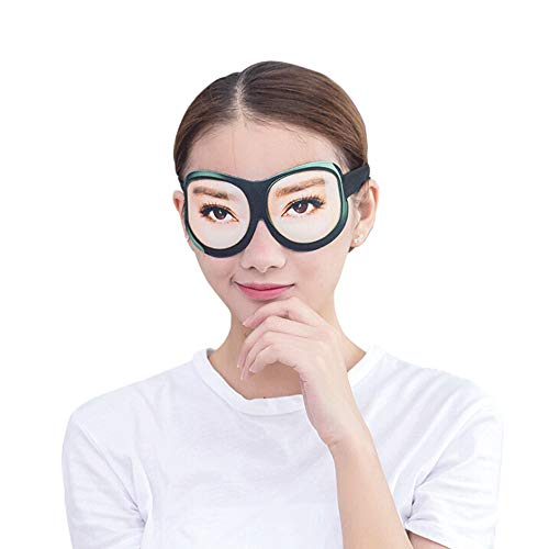 Honbay 3D Funny Eyeshade Soft Sleep Eye Mask with Adjustable Head Strap for Travel, Game, Party, Rest, Sleeping, etc (Woman) Black