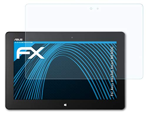 atFolix Schutzfolie kompatibel mit Asus VivoTab Smart ME400C Folie, ultraklare FX Bildschirmschutzfolie (2X)