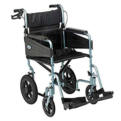 Days Escape Wheelchair, Lite Aluminium, Lightweight with Folding Frame, Mobility Aids, Comfort Travel Chair with Removable Footrests, Standard Size, Silver/Blue