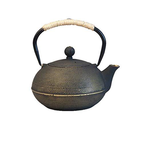 AWJ Tetera de Hierro Fundido Tetera de Hierro Fundido Tetera de Hierro Fundido Patrón de Espiral de Acero Inoxidable Infusión de té de Retro Black Tea 900 Ml para té Verde o bolsitas de té (Colo