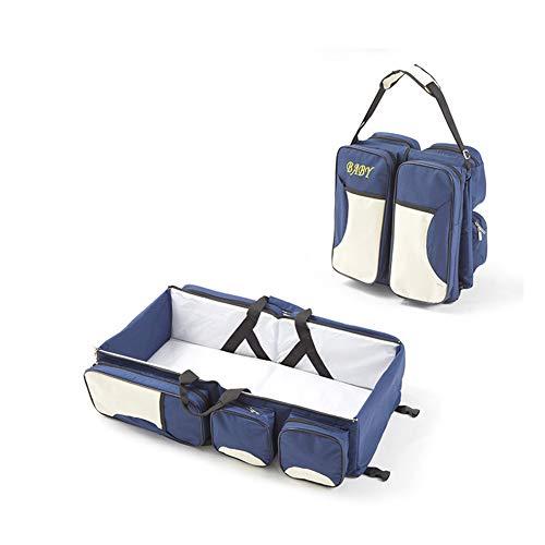 KLI Tragbare Neugeborenen Babybett Matratze Mummy Pack Tasche Reisebett Für Baby, 74 * 35 * 18 cm Bett, Matratze,Darkblue