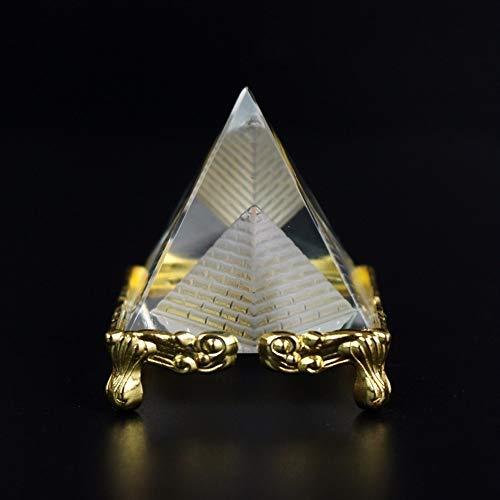 Mrjg Kristallkugel Qualitäts-Kristallglashohlpyramide Metallhaltig Briefbeschwerer Fengshui Figurine Crafts Home Office Decor glaskugel (Color : Golden, Size : 4cm)