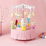 HDDFG Caja de música con diseño de oso de corazón para niña, con forma creativa, giratoria, molino de viento, caja de música para niña, regalo de cumpleaños (color: D)