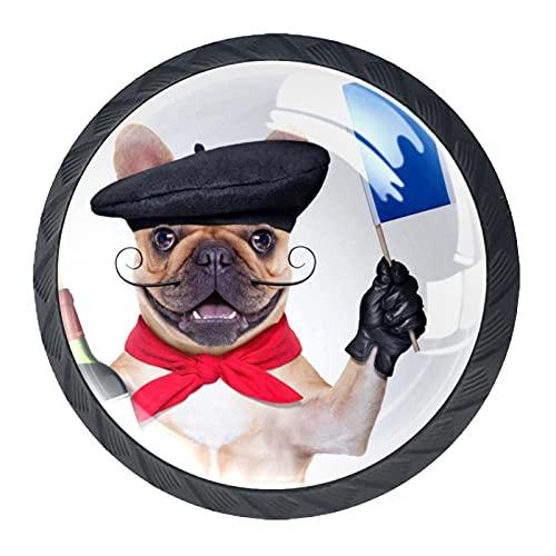 Bulldog francés con sombrero de boina de vino tinto perillas de hardware de cristal para aparador cajones puerta gabinete pomos
