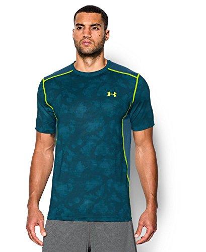 Under Armour Raid - Camiseta de Manga Corta para Hombre, Hombre, 1257466, Azul Legión (401)/Amarillo de Alta Visibilidad, L
