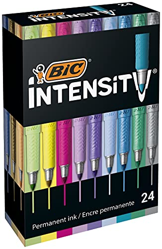 BIC Intensity - Rotuladores Permanentes - Varios Colores Intensos/Pastel/Metalizados, óptimo para regalo, Caja de24