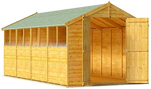 BillyOh Keeper Overlap Garden Shed with Floor | Wooden Garden Storage Shed with Apex Roof & Felt Included | Windowed or Windowless- Multiple Sizes (16x8 Windowed)