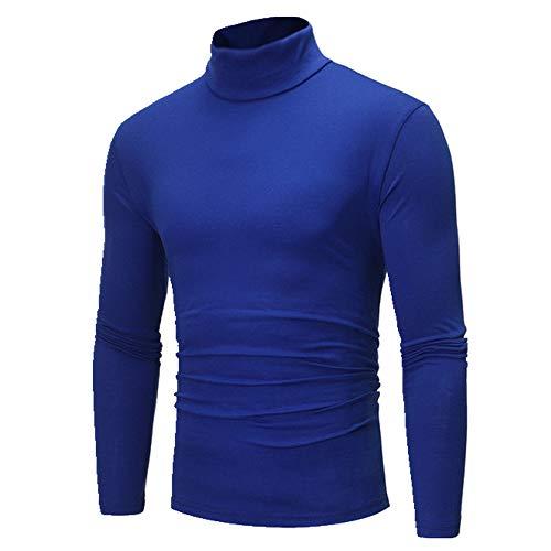 for Men Solid Colour Slim Elastic Thin Pullover Men Spring Autumn Turtleneck Men Knitting Sweater Men Blue