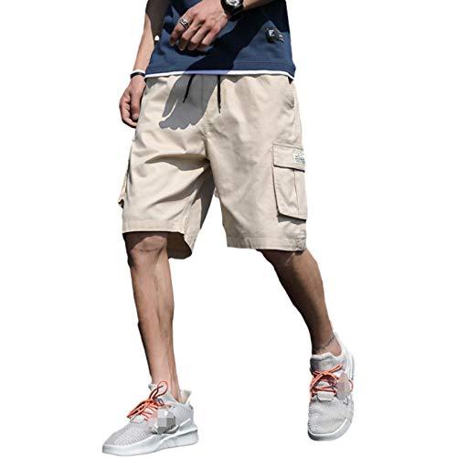 Pantalones Cortos de Verano de Talla Grande para Hombre, Monos Deportivos Informales de Tendencia callejera con cordón de Cintura elástica clásica, con Bolsillos múltiples M