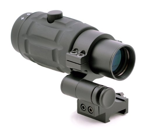 TMS Tactical 3X Magnifier Scope with Quick Flip to Side FTS Mount 42mm Center Height for Red Dot Sights and AIMPOINT…