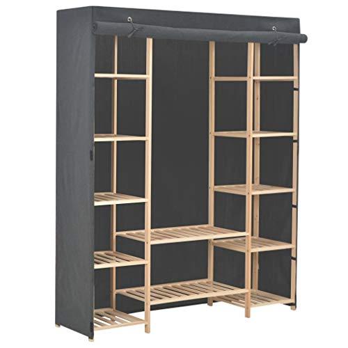 vidaXL Kleiderschrank Stoffschrank Garderobenschrank Garderobe Schrank Schlafzimmerschrank Wohnzimmer Schlafzimmer Grau 135x40x170 cm Stoff
