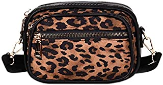 TOOGOO Women Fashion Bag Crossbody Bag Small Handbags Leopard Women Leather & Scrub Messenger Bags Shoulder, Black