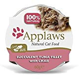 Applaws 100 Percent Natural Wet Cat Food Pot, Tuna with Crab in 60 g Pots (Pack of 10)