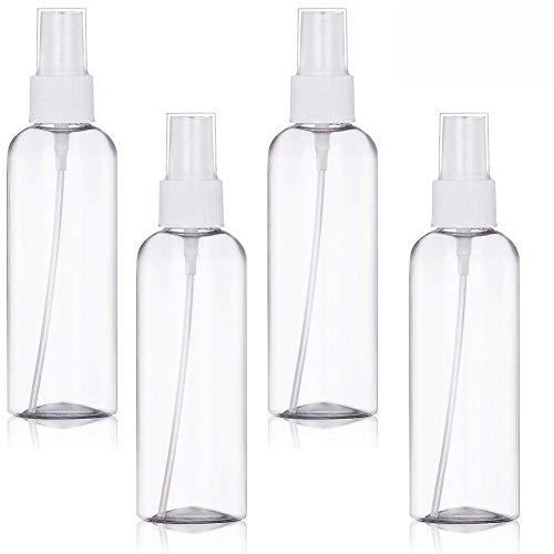 BETOY 4 Pezz trasparente Bottiglie da Viaggio,100 ML Set Di Bottiglie Spray Da Viaggio, vuoti, nebulizzatori da viaggio, ricaricabili, per oli essenziali, profumi, cosmetici (trasparente)