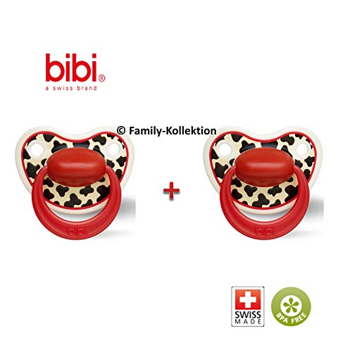 Bibi Happiness Schnuller Nuggi (Tiger Swiss Rot 2er Set, 6-16 Monate)