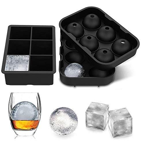 HLDUYIN Ice Cube Plateaux, Cube De Glace en Silicone Flexible Moisissures, Ice & Candy & Chololate Fabrication De Moules, pour Les Boissons Froides, Whisky & Cocktails Réutilisables