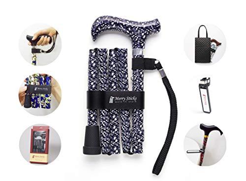 Merry Sticks, bastón Plegable Ajustable de diseño, Caleidoscopio, Incluye una práctica Bolsa para su bastón y un Soporte para Bastones Reflectante Inteligente