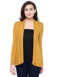 MansiCollections Yellow Shawl Neck Cardigan for Women
