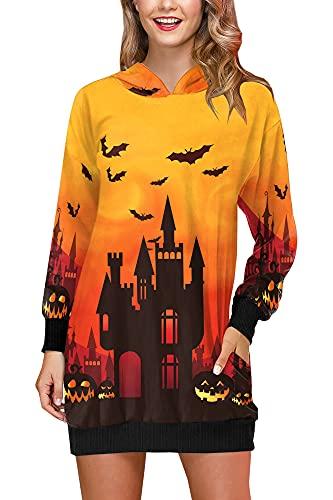 Halloween-Party Dress für Damen Warm Lustiges Kostüm mit Schloß Bündchen Long Sleeve Kleider Gelb M