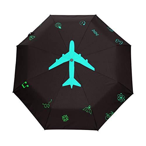 Orediy Automatischer Faltbarer Regenschirm Flugzeug-Icon, Winddicht, Reisekompakt, tragbar, Sonnenregen UV-beständig