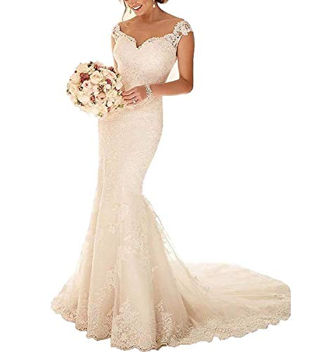 RYANTH Women's Elegant Mermaid Wedding Dress Illusion Back Long Lace Bride Gowns RWD15 Ivory 4