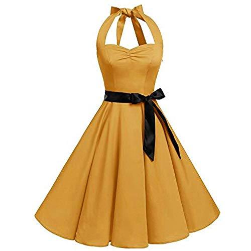 VJGOAL Mujer Primavera y Verano Moda Casual Sin Mangas Lunares Encaje Vintage Hepburn Columpio Cintura Alta Pndulo Grande Vestido Plisado Falda(XX-Large,Amarillo)