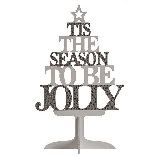 Christmas Shop - Sapin décoratif en Bois (Taille Unique) (Argent/Blanc)