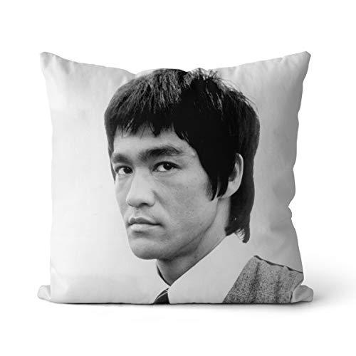 Almohada Ligera Bruce Lee 50x50cm Actores de Cine de Artes Marciales Chinas Bruce Lee Almohada Antiarrugas súper Suave con Cremallera Oculta