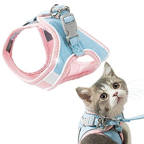 GeeRic Arnés Gatos,Arnés para Gato Antiescape y Ajustable Reflectante Chaleco Cuerda para 1kg-7.5kg Gatos y Cachorros,Entrenamiento y Caminar
