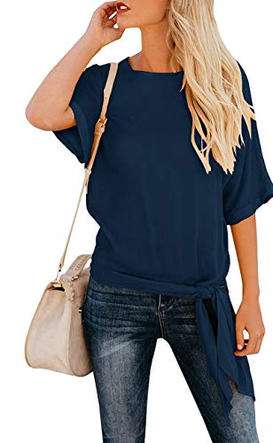 OURS Women's Summer Short Sleeve Tops Tie Front Chiffon Blouses Loose Plain Shirts (Navy Blue, S)