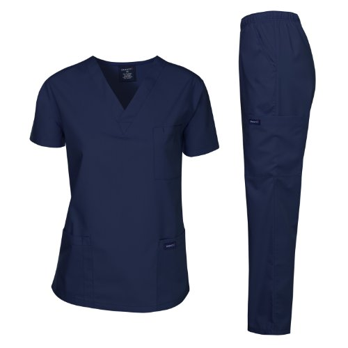 Dagacci Medical Uniform Woman and Man Scrub Set Unisex Medical Scrub Top and Pant, Navy, XS